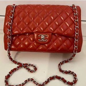 Chanel double flap jumbo red
